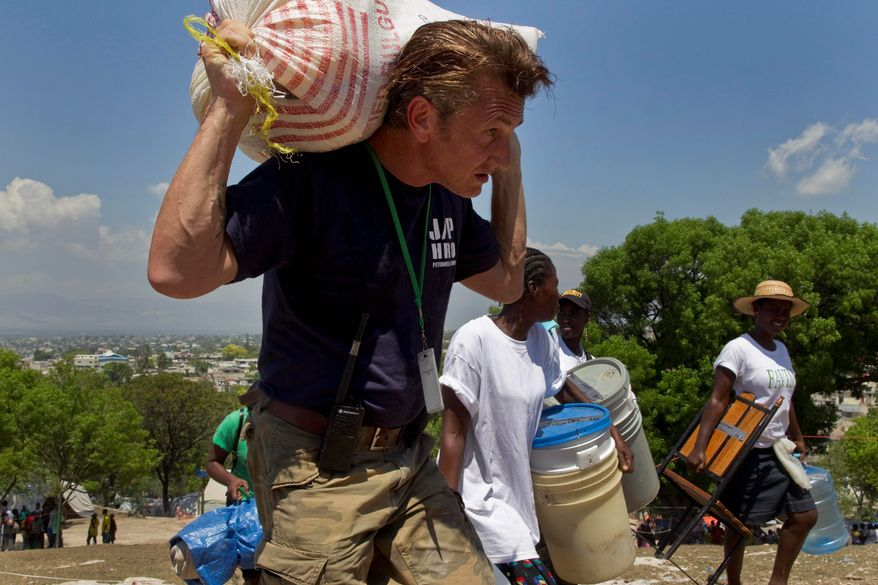 ASSOCIATED PRESS PHOTOGRAPHS Actor Sean Penn (left) was in Haiti helping the displaced find shelter shortly after the massive 2010 earthquake that destroyed much of the country. He since has become a major figure in the effort to rebuild. Among his contributions is a clinic for women (above) at the Petionville Golf Club in Port-au-Prince set up by Mr. Penn's J/P Haitian Relief Organization.