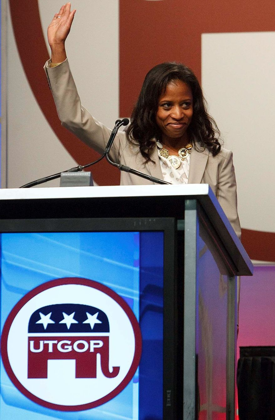 """Mia Love, the Republican candidate in Utah's 4th Congressional District, speaks at the Utah Republican Convention on Saturday in Sandy, Utah. """"What makes America great is this idea that we are free - free to work, free to live, free to choose, and free to fail, because our failures make us better,"""" she said. (Associated Press)"""