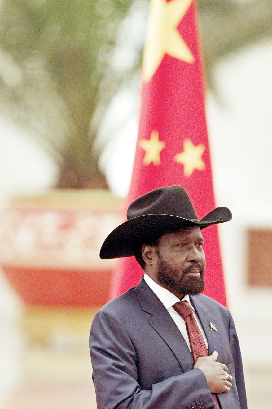 """On the day he was welcomed at a ceremony in Beijing, South Sudanese President Salva Kiir said Sudan """"has declared war"""" on his country. (Associated Press)"""