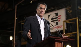 In this photo taken Monday, April 23, 2012, Republican presidential candidate, former Massachusetts Gov. Mitt Romney speaks at Consol Energy Research and Development Facility in South Park Township, Pa. (AP Photo/Jae C. Hong)