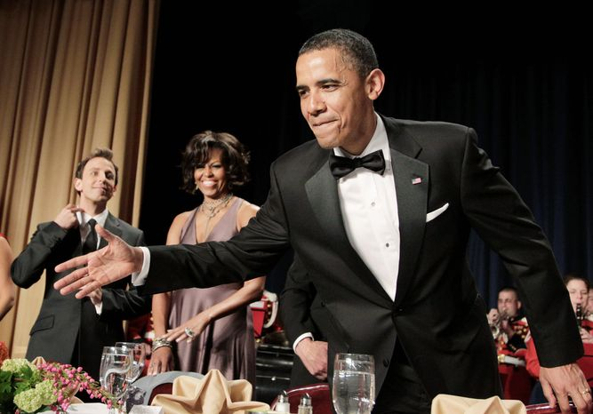 Seth Meyers (left) reportedly ditched a series of jokes about the 2012 Republican presidential field during last year's White House Correspondents' Association dinner after he realized President Obama wasn't laughing. (Associated Press)