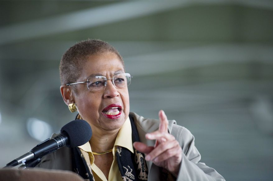 """All I was after was making sure the District had its own Hatch Act,"" Delegate Eleanor Holmes Norton, D.C. Democrat, said Wednesday. ""There's confusion as to how the law applies to D.C."" (Rod Lamkey Jr./The Washington Times)"