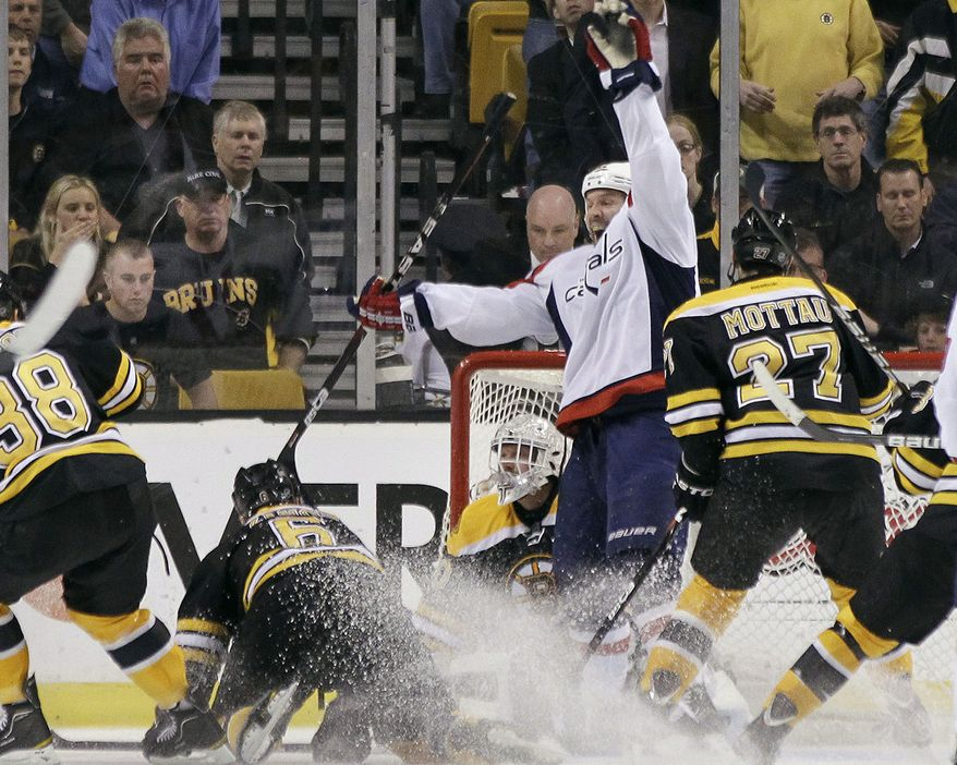 Washington Capitals right wing Mike Knuble (22) reacts after teammate Joel Ward scored against Boston Bruins goalie Tim Thomas during overtime in Game 7 of an NHL hockey Stanley Cup first-round playoff series, in Boston on Wednesday, April 25, 2012. (AP Photo/Elise Amendola)