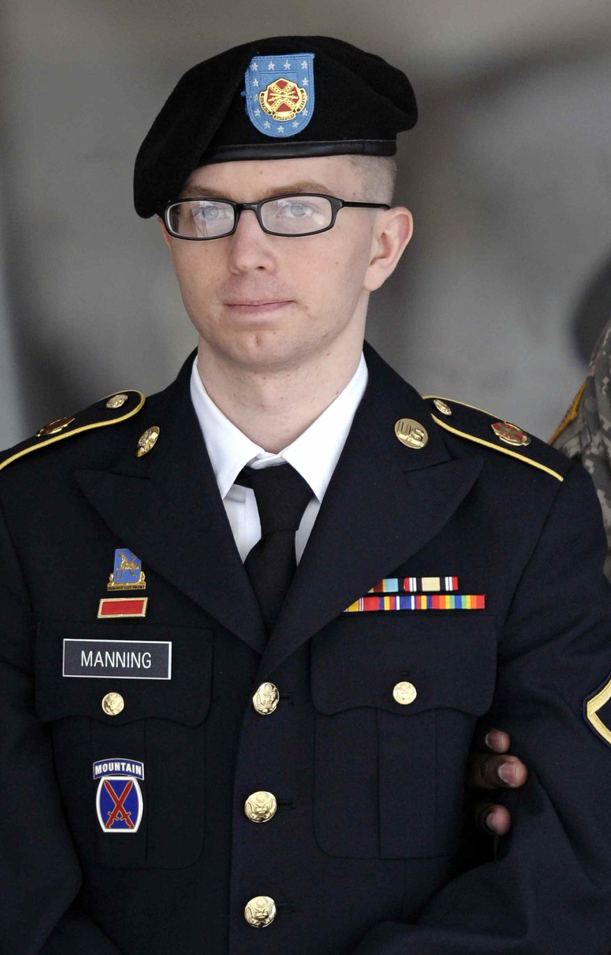 ** FILE ** Army Pfc. Bradley Manning leaves a courthouse in Fort Meade, Md., on Thursday, March 15, 2012. He is accused of engineering the biggest leak of government secrets in U.S. history. (AP Photo/Cliff Owen)