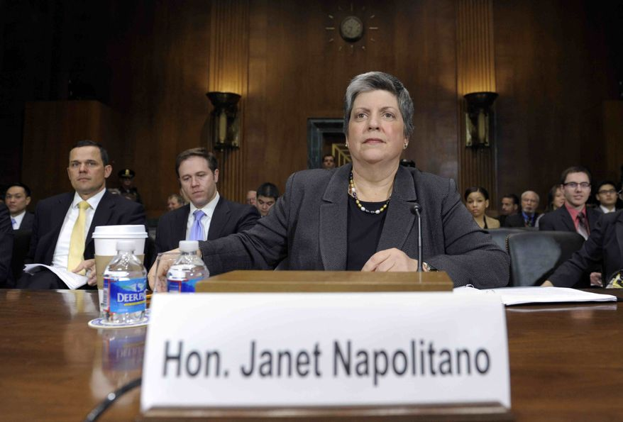 Homeland Security Secretary Janet Napolitano arrives on Capitol Hill in Washington, Wednesday, April 25, 2012, to testify before the Senate Judiciary Committee hearing on the Secret Service prostitution scandal that embarrassed the White House and overshadowed the president's visit to a Latin American summit. (AP Photo/Susan Walsh)