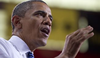 President Obama speaks at the University of Iowa on Wednesday, April 25, 2012, in Iowa City, Iowa. (AP Photo/Carolyn Kaster)