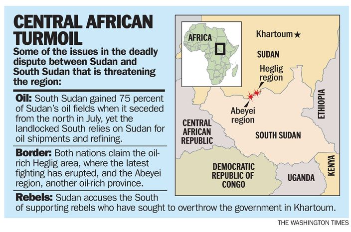 GRAPHIC: A look at the issues in the dispute between Sudan and South Sudan. (The Washington Times)