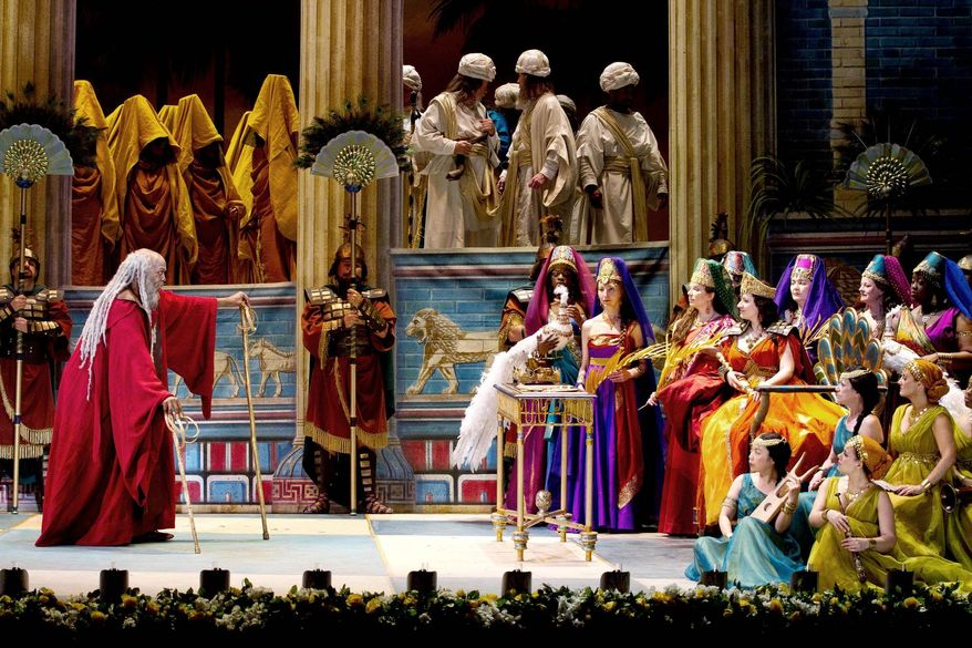 "Soloman Howard and soprano Csilla Boross in Verdi's ""Nabucco,"" being performed at the Kennedy Center for the first time ever in Washington, April 18 through May 21. (Photograph provided by Washington National Opera)"