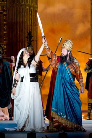 """Csilla Boross as Abigaille and Franco Vassallo as Nabucco (Nebuchadnezzar II) in the Washington National Opera's production of """"Nabucco."""" Its plot includes religious fundamentalism, nation-building, Middle East conflict and genocide. (Photograph provided by Washington National Opera)"""