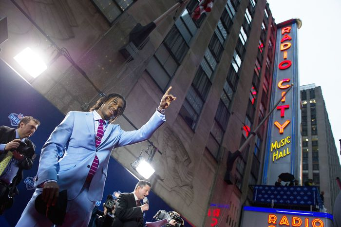 Baylor quarterback Robert Griffin III arrives on the red carpet for the NFL Draft at Radio City Music Hall in New York. Griffin, last season's Heisman Trophy winner, was selected second overall by the Redskins. (Andrew Harnik/The Washington Times)