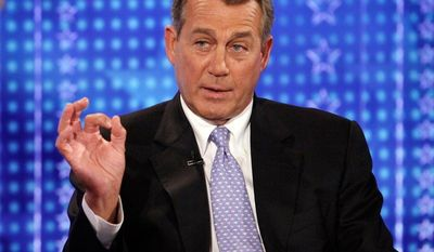 House Speaker John Boehner of Ohio is interviewed by Bill Hemmer on Fox News Channel in New York, Monday April 23, 2012. (AP Photo/Richard Drew)