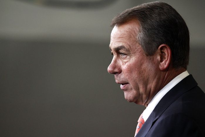House Speaker John Boehner, Ohio Republican, speaks April 26, 2012, during his weekly news conference on Capitol Hill. (Associated Press)