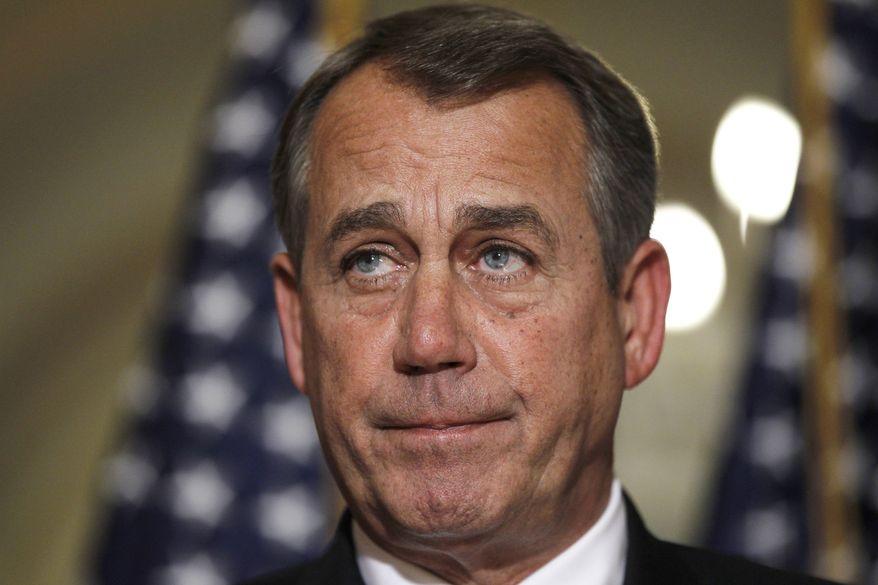 **FILE** House Speaker John Boehner, Ohio Republican, speaks April 25, 2012, about a student loans bill on Capitol Hill. (Associated Press)