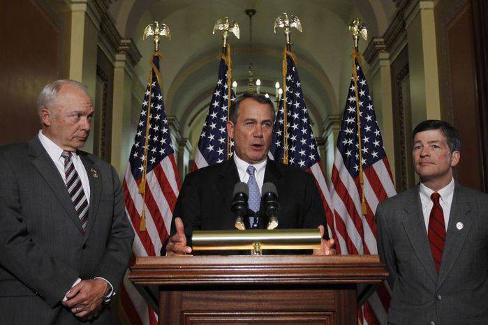 House Speaker John Boehner of Ohio, Chairman of the House Education and the Workforce Committee John Kline, Minnesota Republican, and Rep. Jeb Hensarling, Texas Republican, speak about a student loans bill on Capitol Hill in Washington, Wednesday, April 25, 2012. (AP Photo/Charles Dharapak)