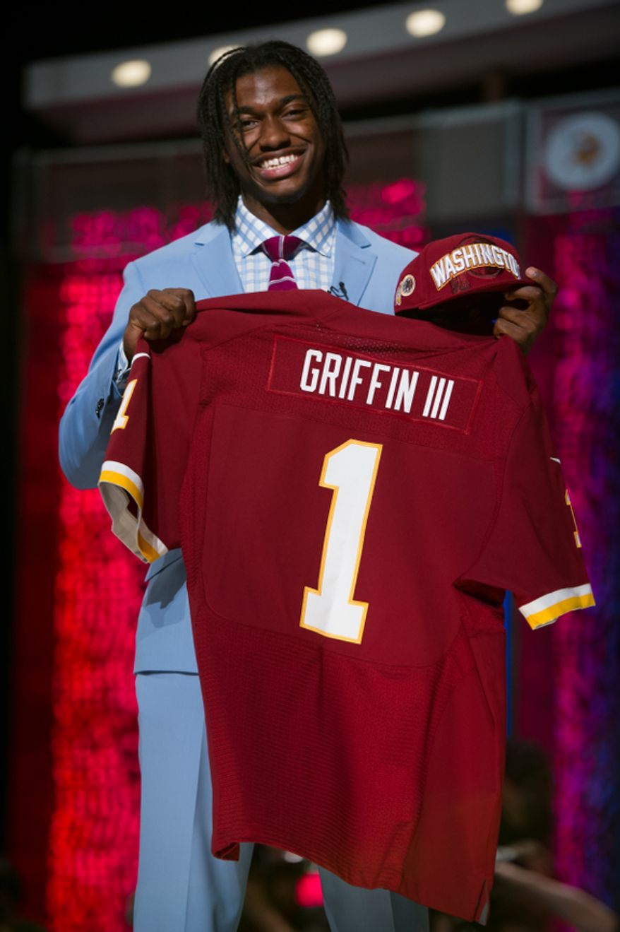 Baylor quarterback Robert Griffin III is selected by the Washington Redskins as the second pick in the first round of the National Football League Draft held at Radio City Music Hall, New York, N.Y., Thursday, April 26, 2012. (Andrew Harnik/The Washington Times)