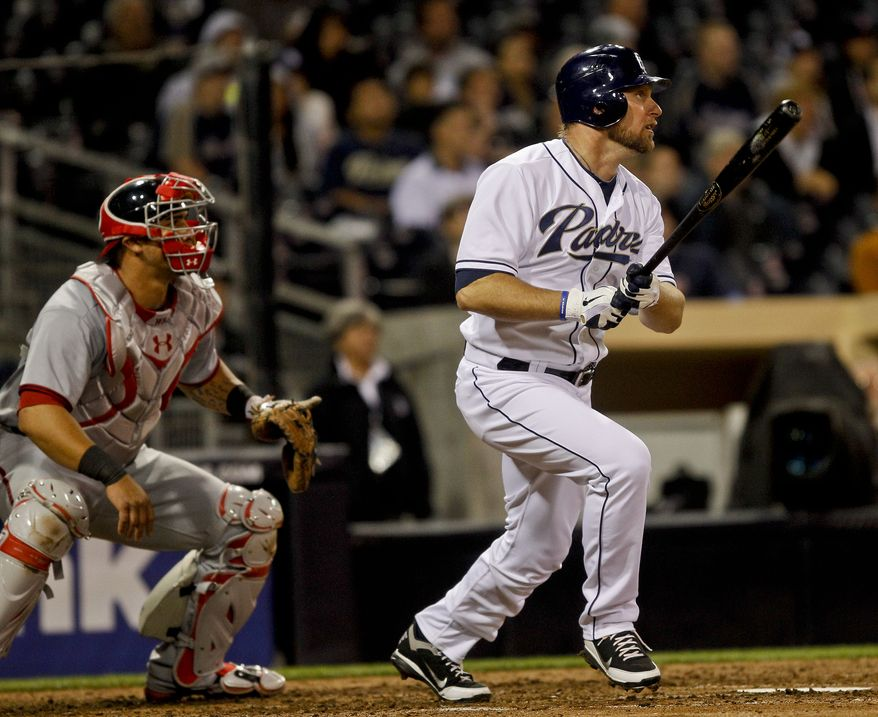 San Diego Padres pinch hitter Mark Kotsay hits a two-run double off of Washington Nationals reliever Tyler Clippard in the eighth inning Thursday in San Diego. The Nats lost 2-1. (AP Photo/Lenny Ignelzi)