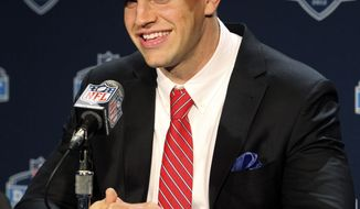 Stanford tight end Coby Fleener speaks to the media after being selected as the 34th pick overall by the Indianapolis Colts in the second round of the NFL football draft  at Radio City Music Hall, Friday, April 27, 2012, in New York. (AP Photo/John Minchillo)