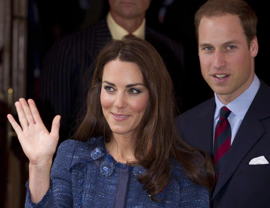 The Duke and Duchess of Cambridge leave Goldsmith's Hall in the City of London, following a reception to celebrate the centenary of the expedition to the South Pole by Scott-Amundsen, Thursday, April 26, 2012. (AP Photo/Alastair Grant)