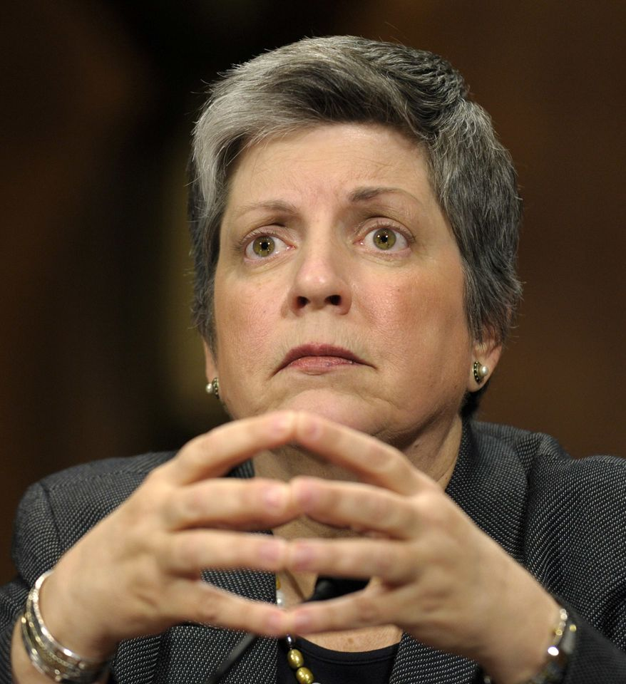 ** FILE ** In this April 25, 2012, file photo, Homeland Security Secretary Janet Napolitano testifies on Capitol Hill in Washington before the Senate Judiciary Committee hearing on the Secret Service prostitution scandal. (AP Photo/Susan Walsh, File)