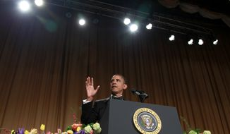 President Obama speaks at the White House Correspondents' Association dinner on Saturday, April 28, 2012, in Washington. (AP Photo/Haraz N. Ghanbari)