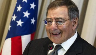 ** FILE ** In this April 25, 2012, file photo, U.S. Defense Secretary Leon Panetta speaks at Brazil's Superior War College in Rio de Janeiro, Brazil. (AP Photo/Felipe Dana, File)