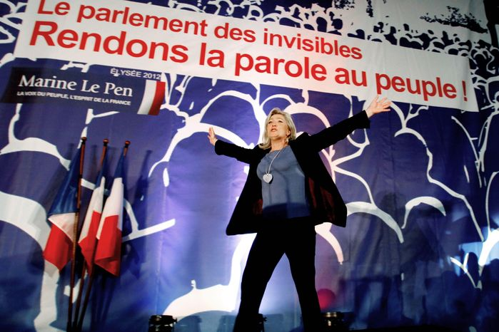 Marine Le Pen, who came in a strong third place in the first round of the French presidential elections, has spurned incumbent Nicolas Sarkozy, a fellow critic of the left. She appears to be hoping for a victory for the Socialist candidate so she can emerge as the face of the opposition. (Associated Press)