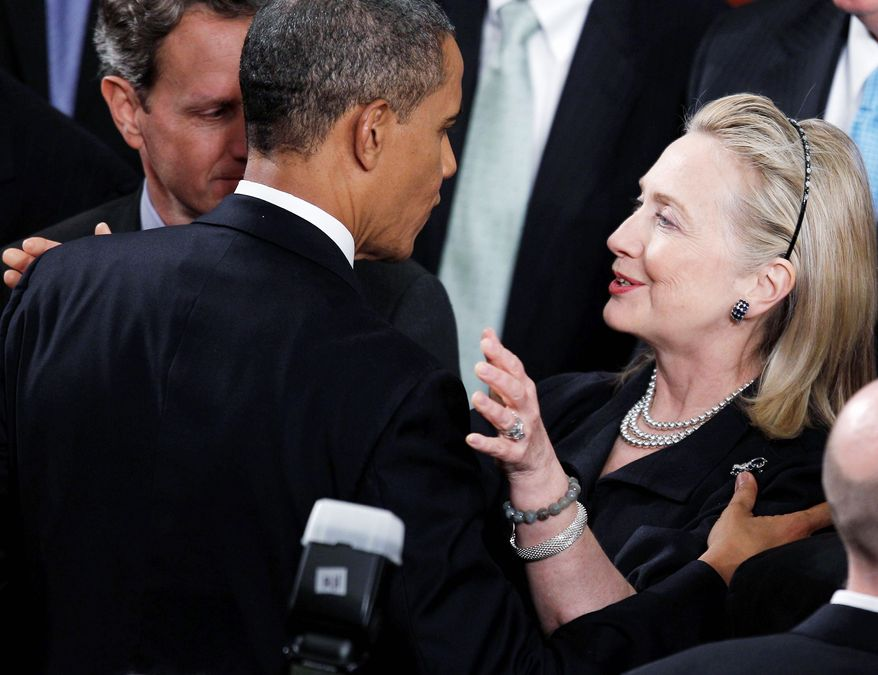 Secretary of State Hillary Rodham Clinton congratulates President Obama after his annual State of the Union address on Capitol Hill in January. Once a tense rivalry, it appears that the relationship between Mr. Obama and the Clintons has evolved into a genuine political and policy partnership. (Associated Press)