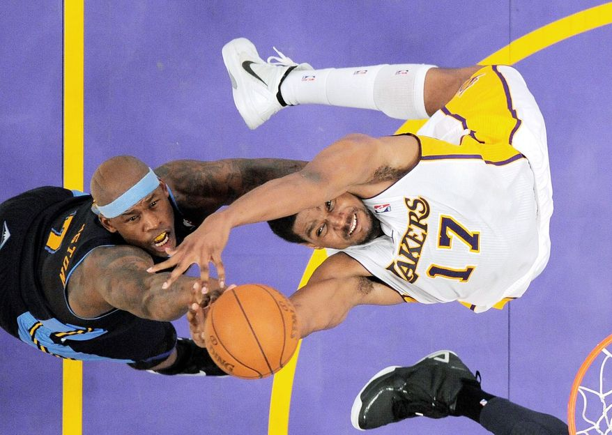 Los Angeles Lakers center Andrew Bynum's 10 blocked shots tied the NBA postseason record shared by Utah's Mark Eaton (1985) and Houston's Hakeem Olajuwon (1990). (Associated Press)