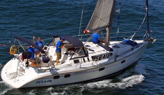 The 37-foot Aegean and its crew members are pictured at the start of a 125-mile yacht race from Newport Beach, Calif., to Ensenada, Mexico, on Friday, April 27, 2012. (AP Photo/newportbeach.patch.com, Susan Hoffman)