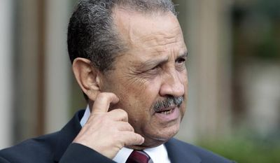 **FILE** Shukri Ghanem, former Libyan oil chief, talks June 1, 2011, with reporters in Rome. (Associated Press)