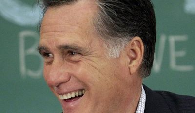 Republican presidential candidate and former Massachusetts Gov. Mitt Romney talks April 27, 2012, to students during a roundtable discussion at Otterbein University in Westerville, Ohio. (Associated Press)
