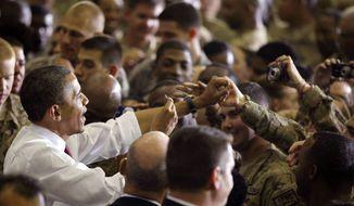 President Barack Obama addresses troops at Bagram Air Field, Afghanistan, Wednesday, May 2, 2012. (AP Photo/Charles Dharapak) **FILE**