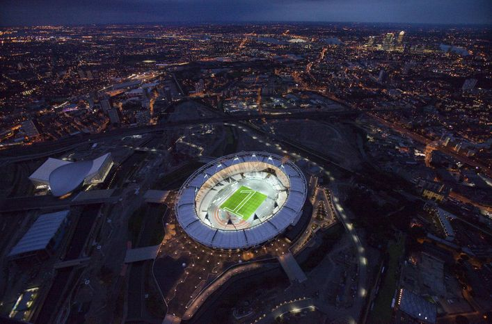 """** FILE ** In this undated photo made available on July 25, 2011, by the London Organizing Committee of the Olympic and Paralympic Games (LOCOG), an aerial photo of the London 2012 Olympic Stadium to mark """"1 year to go to the Olympic Games"""" is seen in London. (AP Photo/LOCOG, Anthony Charlton, File)"""