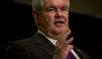 ** FILE ** Former House Speaker Newt Gingrich speaks at the Hilton Arlington in Arlington, Va., May 2, 2012. (Rod Lamkey Jr./The Washington Times)