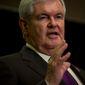 ** FILE ** Former House Speaker Newt Gingrich speaks at the Hilton Arlington in Arlington, Va., May 2, 2012. (Rod Lamkey Jr./The Washington Times)