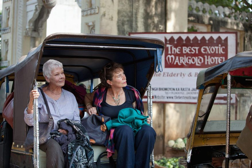 """Judi Dench (left) and Celia Imrie star in """"The Best Exotic Marigold Hotel,"""" an ensemble British comedy in the tradition of """"Four Weddings and a Funeral"""" and """"Love Actually."""" (Fox Searchlight Films via Associated Press)"""