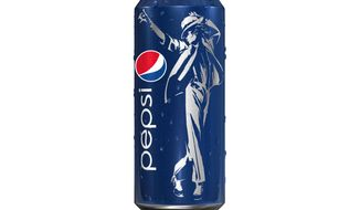 "This image provided by PepsiCo Inc. shows Pepsi's ""King of Pop"" can featuring a likeness of Michael Jackson. PepsiCo Inc. announced May 3, 2012, its deal with the estate of Michael Jackson to use the late pop star's image for its new global marketing push. (Associated Press/PepsiCo Inc.)"