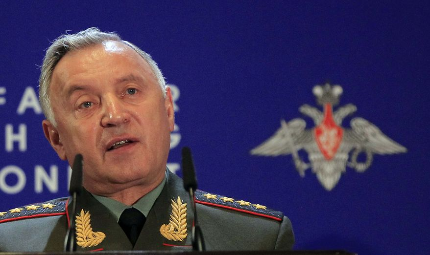 "Russian Chief of General Staff Nikolai Makarov threatens ""destructive force"" on NATO missile-defense sites in Eastern Europe. (Associated Press)"