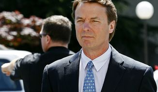 ** FILE ** In this April 12, 2012, file photo, former presidential candidate and U.S. Sen. John Edwards arrives outside federal court following a lunch break in jury selection for his criminal trial on alleged campaign finance violations in Greensboro, N.C. (AP Photo/Gerry Broome, File)