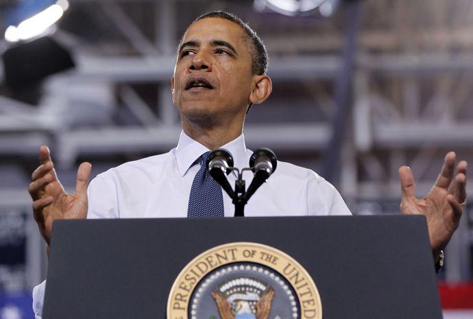President Obama speaks May 4, 2012, at Washington-Lee High School in Arlington, Va. (Associated Press)