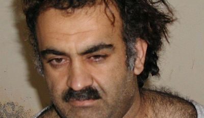 Khalid Shaikh Mohammed, captured in 2003, is one of five terrorism suspects held at Guantanamo Bay in Cuba facing military trials related to the Sept. 11, 2001, attacks on the United States. (Associated Press)