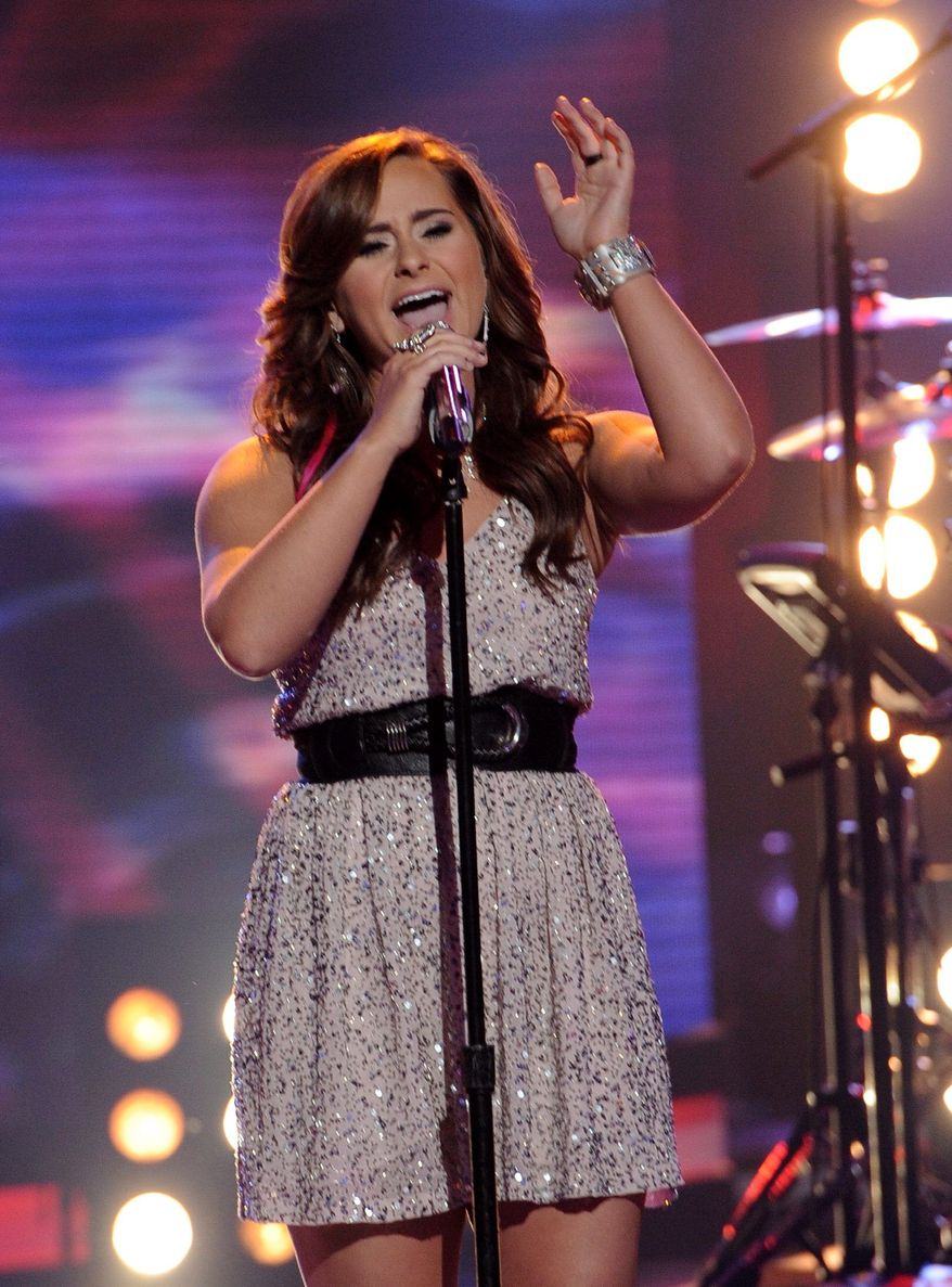 "Skylar Laine received the fewest viewer votes Thursday on ""American Idol"" and was eliminated from the Fox singing contest. (Associated Press)"