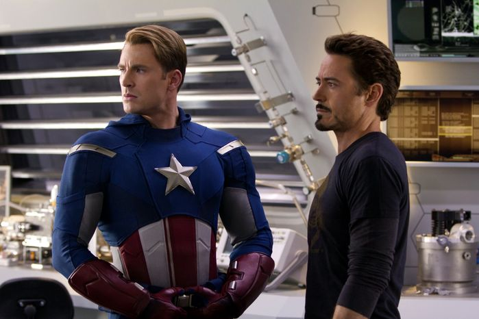 "Chris Evans (left) portrays Captain America and Robert Downey Jr. is Tony Stark in the new film ""Marvel's The Avengers."" (AP Photo/Disney, Zade Rosethal)"