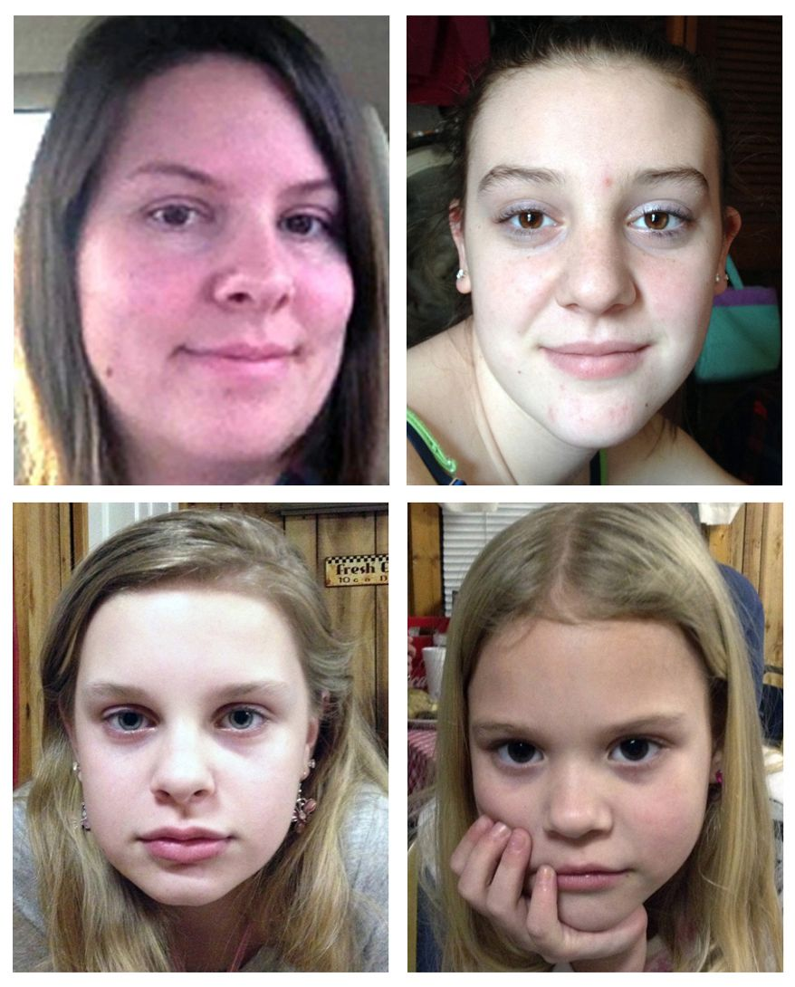 A combination image shows (clockwise from top left) Jo Ann Bain and her daughters, Adrienne, 14, Kyliyah, 8, and Alexandria, 12. (AP Photo/Mississippi Department of Public Safety)