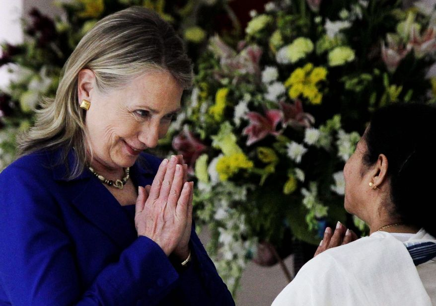 Secretary of State Hillary Rodham Clinton meets Monday with West Bengal Chief Minister Mamata Banerjee, who is trying to keep foreign retailers such as Wal-Mart from entering the market. (Associated Press)
