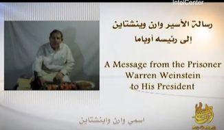 American hostage Warren Weinstein said in a video released on Sunday, May 6, 2012, that al Qaeda will kill him unless President Obama agrees to the militant group's demands. (AP Photo/IntelCenter)