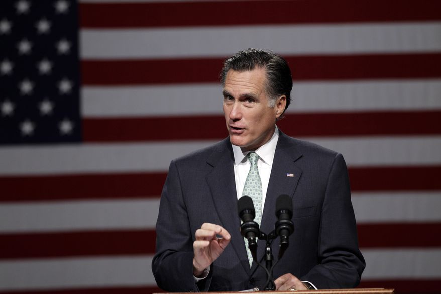 Former Massachusetts Gov. Mitt Romney, the presumptive Republican presidential nominee, speaks at Lansing Community College in Lansing, Mich., on Tuesday, May 8, 2012. (AP Photo/Carlos Osorio)