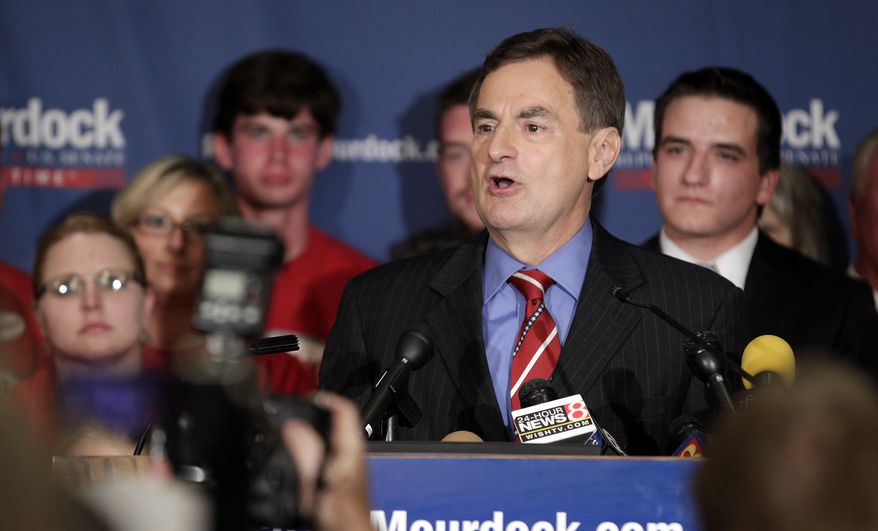 Indiana Treasurer Richard Mourdock speaks to supporters in Indianapolis on Tuesday, May 8, 2012, after he defeated incumbent Sen. Richard G. Lugar, Indiana Republican, in the primary. (AP Photo/AJ Mast)