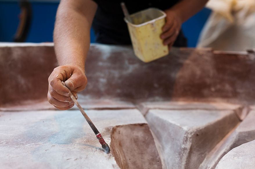 Oliver Seewald, employee at Noack Bronze-casting foundry, is preparing a mold to cast a bronze. Thursday, April 26, 2012. Noack is arguably the most important bronze-casting foundry in Germany, based in Berlin. Daniel Pilar/Special to The Washington Times