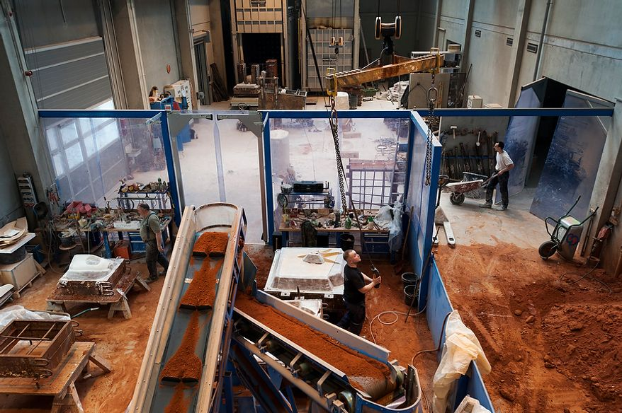 Overview of the sandformerei and the oven range inside a hall of Noack. Thursday, April 26, 2012. Noack is arguably the most important bronze-casting foundry in Germany, based in Berlin. Daniel Pilar/Special to The Washington Times